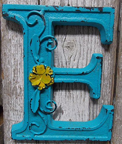 Fun 6 x 5 x 5 Cast Iron 3-D BLUE Wall LETTER  E  Wall Art Decor Alphabet Letter