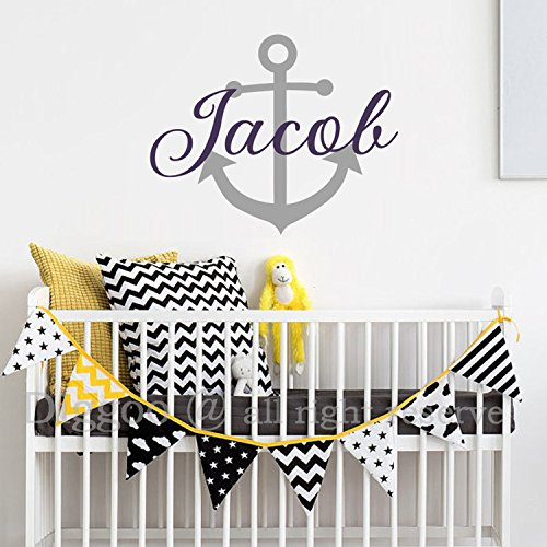 Nautical Anchor Vinyl Wall Decal Personalized Baby Name with Boat Anchor Baby Room Wall Decor