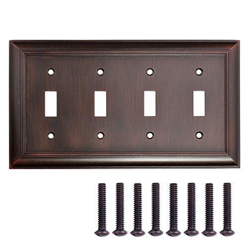 AmazonBasics Quadruple Toggle Light Switch Wall Plate Oil Rubbed Bronze 1-Pack