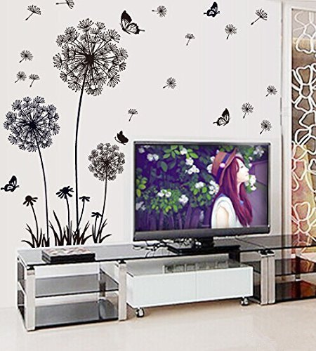 RRRLJL Beautiful Dandelion and Butterflies Wall Decal Mural Home Decor Large Removable Wall Sticker for Living Room Bedroom Black6551