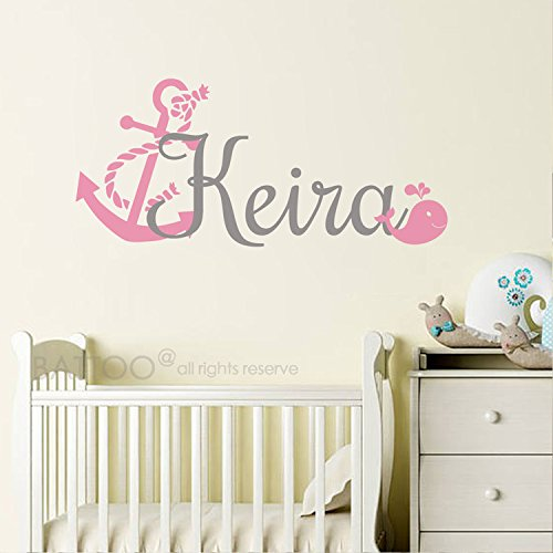 BATTOO Personalized Name Decal - Anchor Name Decal - Girls Name Decal Whale Wall Decal - Nautical Name Decal Nursery Decor Wall Art Sticker
