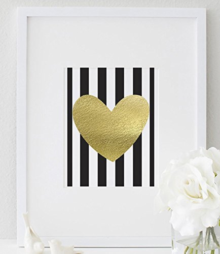 UNFRAMED Gold Heart Stripes 8x10 Inspirational Print Fashionable Gold Foil Girls Room Wall Art Fun Typography Bedroom Poster Home Decor
