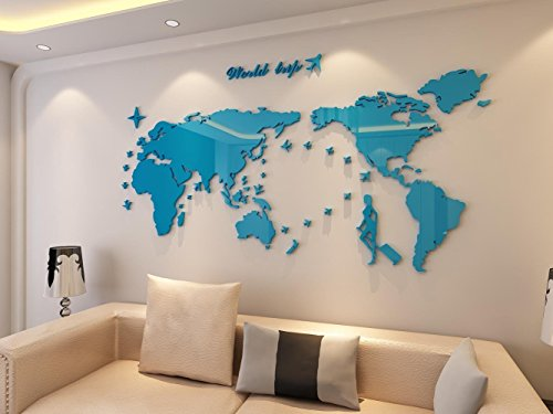 Plastic The World Trip Map Wall StickersWall decalsWall tattoosWall transfers 31H x 58W inches Blue