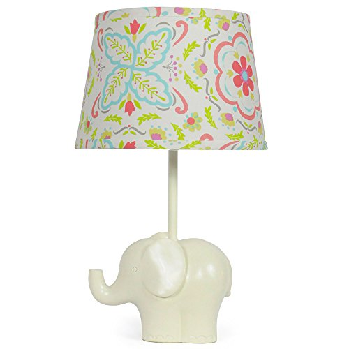 Coral Floral Nursery Lamp Shade with White Elephant Base CFL Bulb Included
