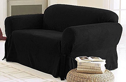 Green Living Group Chezmoi Collection Soft Micro Suede Solid CouchSofa Cover Slipcover with Elastic Band Under Seat Cushion Black