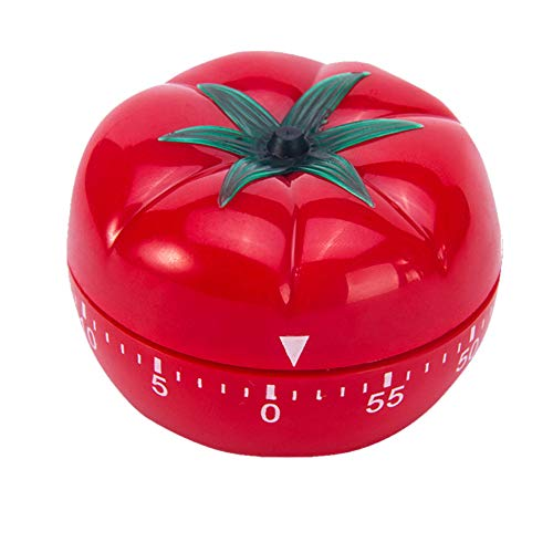 Plastic Mechanical Countdown Timer Clock- Creative Tomato Timer 55 Minutes with Alarm Red