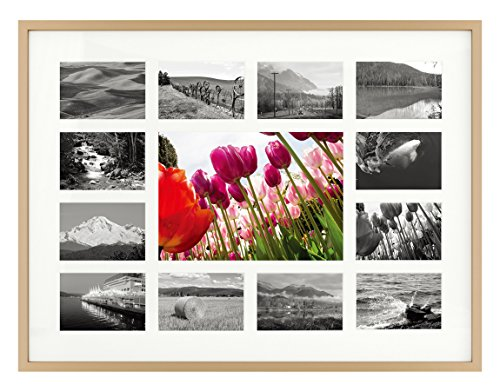 12x16 Gold Aluminum Metal Frame - 13 Opening Ivory Mat - Displays One 5x7 Photo and Twelve 2x3 Pictures - Collage Frame - Real Glass Sawtooth Hangers Swivel Tabs - Wall Mounting Landscape Portrait