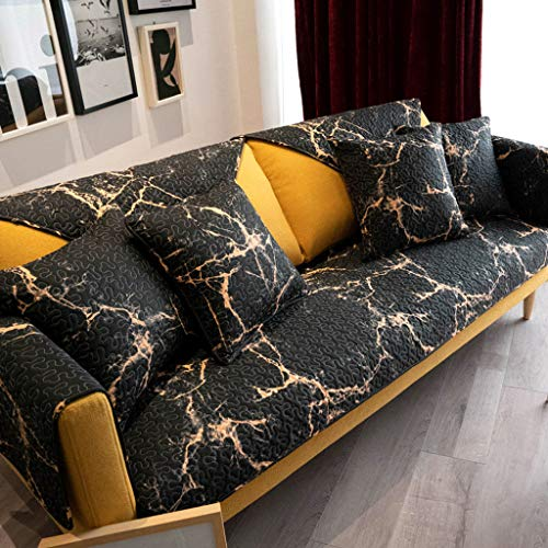 GOPG Quilted Sofa Slipcover Fashion Black Sofa Cover Non-Slip Stain Resistant 100 Cotton Furniture Protector Couch Covers for L-Shaped Sofa Armchair Loveseat 3 Cushion Couch-70x180cm28x71inch
