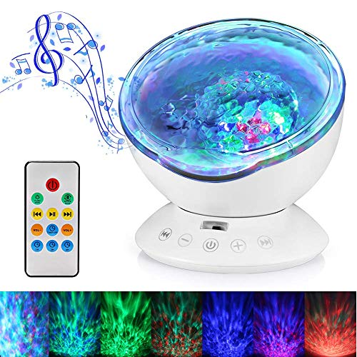 Ocean Wave Projector12LED Night Light Lamp with Adjustable Lightness Remote Control Timer 7 Color Changing Lighting Modes 0cean Projector Lamp Perfect Choice for Baby Bedroom Decoration(White)