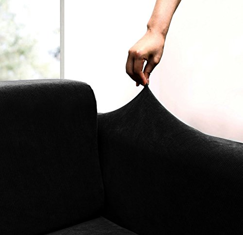 JERSEY STRETCH Form Fit Couch Cover 2 Pc Slipcover SetSofaLoveseat Covers-BLACK color
