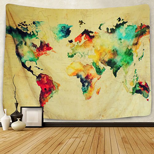 Sunlightfree Retro Watercolor World Map Tapestry Colorful Map Tapestry Wall Hanging Bedroom Living Room Dorm Home Decor Tapestry Small591 X 512…