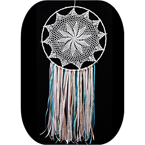Handmade White Lace and Ribbon Dream Catcher Large Wall Hanging Decoration ~ Length 38 InchDiameter 16 Inch