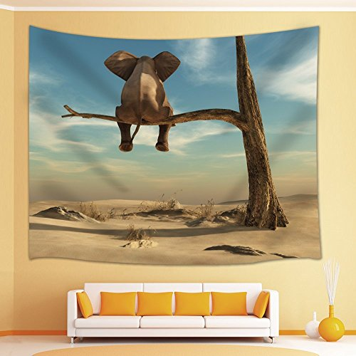 NYMB Wall Art Home DecorThe Lovely Elephant in The Desert Sat on The Branch Tapestry Wall Hanging for Bedroom Living Room DormBlue Brown60 W By 40 L Multi10
