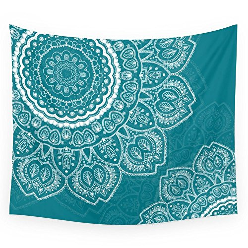 Society6 Mandala In White On Teal Wall Tapestry Large 88 x 104