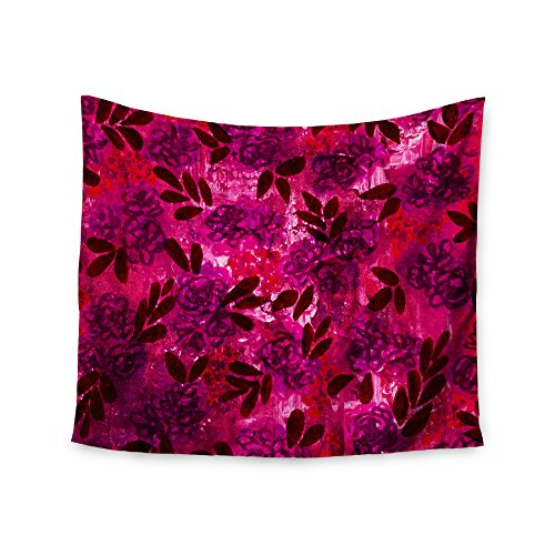 KESS InHouse Ebi Emporium Grunge Flowers IV Pink Red Wall Tapestry 51 x 60