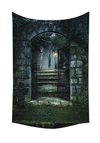 Dark Tapestry Black Gothic Decor Illustration of the Gate of Old Haunted House Cemetary Dead Myst Fiction Art Print Bedroom Living Room Dorm Wall Hanging Dark Grey