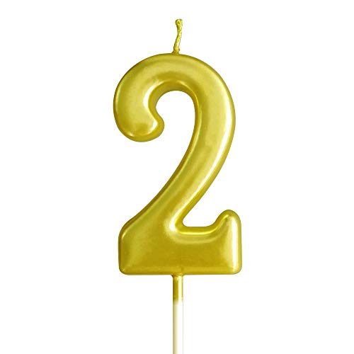 XNOVA Gold Number Candles Numbers 2nd Two Number 2 Champagne Candle Glitter Happy Birthday Numeral Cake Topper Decoration for AdultsKids Party Old Birthday Candle 25 20 12 29 62 52 72 24 21 26 23