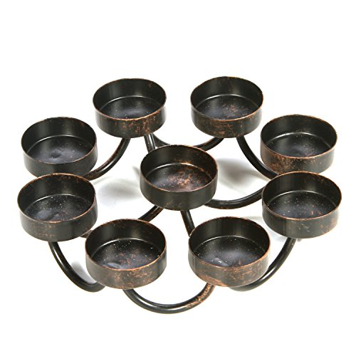 Hosley 7 Inch Bronze Metal 9 Candle Tealights Citronella Votive Candle Holder Ideal Gift for Wedding Aromatherapy Spa Zen Citronella Tealights in a Patio Candle Garden O9