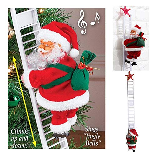 77JOK Electric Climbing Ladder Santa Claus - 65cm Creative Christmas Tree Hanging Plush Ornament - Plush Doll Toy for Xmas Party Home Door Wall Decoration - Surprise for Kids 1 Santa  1 Ladder